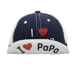 ba3d30b96b8 Fashion Summer Boys And Girls Cowboy Soft Baseball Cap I Love Papa Baby  Leisure Flanging Hats Kids Photography Props