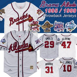 Patchs mondiaux en Ligne-Atlanta 1999 1995 séries mondiales 715 HR 25ème patch Braves Jersey John Smoltz 31 Maddux 10 Chipper Jones 49 Maillots de baseball John Rocker