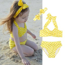 0ea3eaafab girls bathing suits shorts Canada - Girls Swimwear Dot Yellow Kids Bikini  Shorts Headband 3pcs Sets
