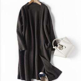 2019 vestidos de lã de trabalho de lã Mulheres Preto Cardigan das mulheres de malha longas Cardigans camisola elegante Outono Inverno camisolas casaco quente Asiático Tamanho S-XL