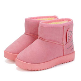 Botas de terciopelo rosa online-Los niños botas de invierno para bebés de botas para la nieve zapatos de los niños de dibujos animados Velvet Boy zapato zapatos de moda caliente de felpa de la Rosa Negro 6