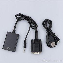 2019 av cavo hdmi vga Adattatore convertitore da VGA a HDMI di alta qualità Uscita 1080P HD + Audio TV Adattatore convertitore cavo video HDTV AV av cavo hdmi vga economici