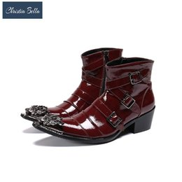 men shoes tips Promo Codes - Christia Bella Italian Handmade Men Shoes Pointed Metal Tip Red Leather Ankle Boots Man Party Botas Hombre Wedding Boots