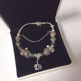 pulseiras indian designer Desconto 18 19 20 21cm Charm Bracelet 925 banhado casamento pulseiras Royal Crown Acessórios roxo Crystal Bead DIY jóias com caixa
