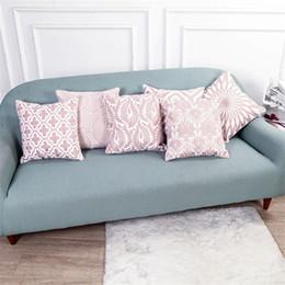 2020 cojines florales rosas Almohadas decorativas florales nórdicas rosadas para el sofá Funda de cojín de bordado Lona de algodón 45X45 cm Cojins Decoración para el hogar Cojines cojines florales rosas baratos