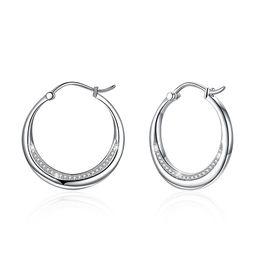 Tachuelas de diamante de platino online-Luxury S925 Diamond Stud Earrings Zircon Platinum Platedum Aguja Hoop Huggie CZ Diamond Geometric en Platino Joyería Boda POTALA044