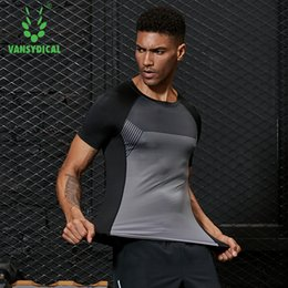 magliette camouflage unisex all'ingrosso Sconti Maglietta da running da uomo Vansydical 2019 Maglietta da compressione Camicia da allenamento a maniche lunghe GYM T Shirt