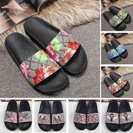 sapatos de impressão de tigre Desconto 2019 New Ace Sapatos Mulheres sandálias de grife de Luxo Moda Flores Tigre Abelha Cobra Imprimir Desin Mens Flats Slides Chinelos Tamanho 36-45