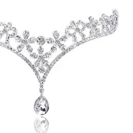 Tiaras für quinceanera online-Kostenloser versand Mode Kristall Tiara Krone Haarschmuck Für Hochzeit Quinceanera Haar Kette Pageant Haarschmuck