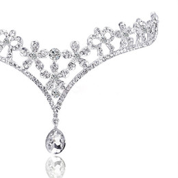 Tiara de cristal quinceanera on-line-Frete grátis Moda Cristal Tiara Coroa Acessórios Para o Cabelo Para O Casamento Quinceanera Cabelo Cadeia Pageant Cabelo Jóias
