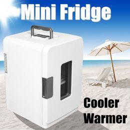холодильник с 12v холодильником Скидка Portable 15L Travel Car Refrigerator 12V Cooler Warmer Camping Mini Electrical Fridge Drinks Chiller Home Car Appliance White