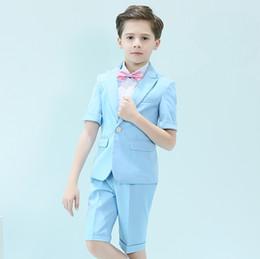 2019 komplette hochzeit Kurzarm One Button Peak Revers Kid Komplette Designer Hübscher Junge Hochzeitsanzug Jungen Kleidung Maßgeschneiderte (Jacke + Pants + Weste) günstig komplette hochzeit