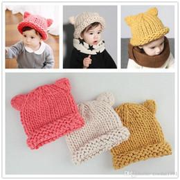 cappello di berretto da maglia della neonata Sconti Inverno Carino Cappelli per le ragazze Bambini bambini Bambino lana caldo cappello Bambino orecchie di gatto Knit Painter Hat bambino cappello berretti casual