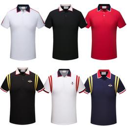 Nuevos hombres polos camisas serpiente abeja bordado polos camisa de diseño de moda de color raya polo camisetas desde fabricantes