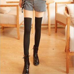 носки над колготками Скидка Woman sexy stockings Fashion Over Knee High Temptation Stretch Nylon Socks New collant femme Lace stockings Tights Medias E