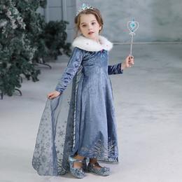 Bambini Snow Queen Cosplay Fancy Dress principessa per la ragazza del pannello esterno della nappa costume di Halloween del partito di Natale per bambini Abiti invernali da