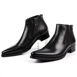 Vestidos azul bronceado online-Gran tamaño EUR46 Moda Negro / Cejas Tan / Azul Hombre Botines de vestir Zapatos de cuero genuino en punta Hombre Zapatos de negocios