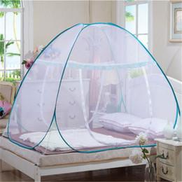 Red de la bolsa de la puerta online-Mongolian Bag Mosquito Net Plegable de una sola puerta Pop Up Tienda de campaña Cama con dosel Mosquito Net Queen King Size Netting ropa de cama
