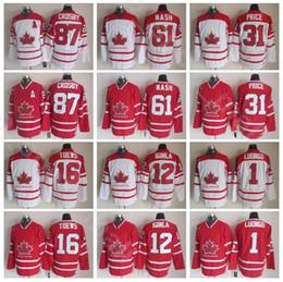 Preço vintage on-line-Equipe Canadá Vintage Hockey 16 Jonathan Toews Jersey 31 Preço Carey 61 Rick Nash 87 Sidney Crosby 1 Roberto Luongo 12 Jaromé Iginla
