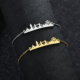 Pulseras europeas de acero inoxidable. online-Pulsera ajustable europea y americana popular de acero inoxidable para la joyería británica del puente de la torre Mujeres de moda pulsera