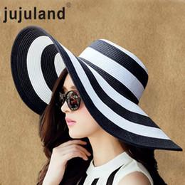 jujuland 2018 New Summer Female Sun Hats Visor Hat Big Brim Black White  Striped Straw Hat Casual Outdoor Beach Caps For Women C18122501 62d0ad4fd189