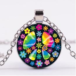 Canada Signe de la paix collier pendentifs d'amour de la paix, collier en verre d'argent vintage, cadeau d'anniversaire créatif, cadeau pour un ami, collier Offre