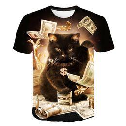 gatos 3d Rebajas Nueva Moda Mujer / Hombre Gatos Dinero Mangas cortas Divertido Impresión 3D Camiseta Verano Ropa Casual Top Tees K15