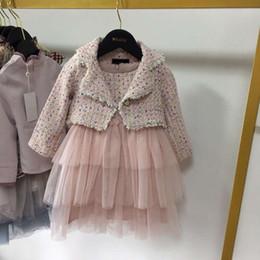 Nouvelle arrivée filles 2 pc ensemble enfants laine vêtements luxueux ensemble printemps automne épaississement à manches longues manteau robe de broderie 100-150 ? partir de fabricateur