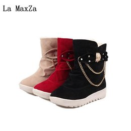 Deutschland La MaxZa Herbst Winter Neue Dicke Untere Keil frauen Baumwollstiefel Plus Samt Dicker Bogen Metall Dekorative Knöchel Warme Schneeschuhe cheap bow autumn women ankle boots Versorgung