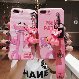 Pantera iphone online-Caja del teléfono móvil del cerdo de la fortuna para el iphone 6 7 8 más x con la cubierta del iphone de la cadena 2019 nuevos casos de la pantera rosada con Kickstand para iphonexs máximo