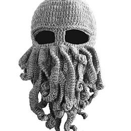 2019 máscara cthulhu BomHCS Octopus Tentáculo Cthulhu Knit Beanie Chapéu Cap Vento Máscara máscara cthulhu barato