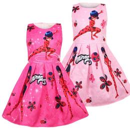 Estampados de mariquita online-2019 ropa de niña bebé de dibujos animados niña princesa vestido de niña de impresión sin mangas sin mangas falda de mariquita