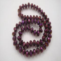 2019 facetada contas rondelle 8mm contas de cristal de vidro roxo para a jóia diy fazendo rondelle moda facetada espaçador bead jóias acessórios facetada contas rondelle barato