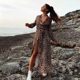 OMKAGI Лучшие Продажи Мода Leopard Pattern Cover Up Длинный Кардиган Свободные Женщины Пляжный Купальник Женщины Купальники Пляжное Платье от
