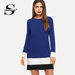 5a4cd5670770 vestiti da blocco di colore delle signore Sconti Abito Sheinside a righe  blu Donna Girocollo manica