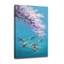 Pittura a fiore incorniciata online-Dipinto a mano Dipinto ad olio su tela Impressionista Cherry Blossom e nove pesci Picture Picture Framed Wall Art Living Room Bedroom Wall Decor