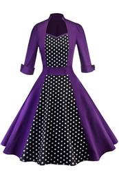 vestidos violeta rojo para las mujeres Rebajas 2019 Red Rockabilly medias mangas Swing Vestidos Casual Mujeres Vintage A Line Vestido de cóctel de fiesta con cuello redondo Sin respaldo FS6139Elegante Rosa Púrpura