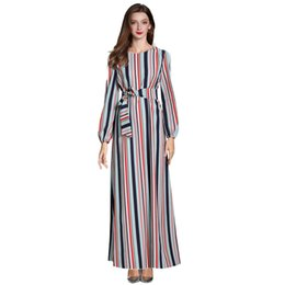 Dubai dresses designs on-line-Impressão Estampagem Muçulmano Vestido Mulheres Dubai Abaya Robe Preto Manga Longa Cardigan Kaftan Design Elegante Maxi Vestidos de Roupas