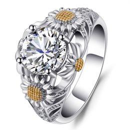 2018 0.87 Ct Oval Natural Yellow Sapphire White Topaz Fine Jewelry Anillo de piedras preciosas para mujeres desde fabricantes