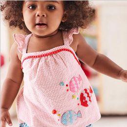 Canada New Girl Kids définit 100% coton dessin sans manches fleurs bateau de poisson imprimer fille définir été fille élégante t-shirt décontracté + court B11 cheap elegant summer shirts Offre