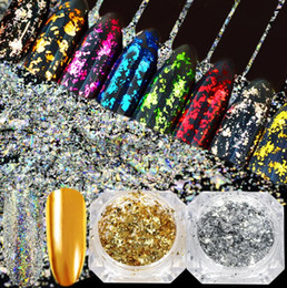 Polvo de oro brillo online-January3 Nail Art Decoration Gold Foil Glitter Color de alto grado DIY Manicure Foil Nail Shine Film Powder Decoration M0035