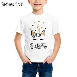 t-shirt design gesicht Rabatt Baby-Kleidung-Gold-Einhorn-Gesicht-alles Gute zum Geburtstagbrief-Entwurfs-Druck-T-Shirt Kind-nette Karikatur-lustige T-Shirts