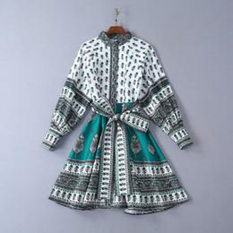 vestiti con maniche di soffio Sconti Designer 2019 Stand colletto maniche corte maniche corte Abito donna Milano Runway Print Holiday Dress yy-86