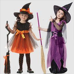 fantasia de chapéu de bruxas Desconto Costumes Dia das Bruxas caçoa Bruxa Com Hat Cosplay Mostra Trajes Meninas bruxas Gabardinas bruxas macacões Dress Up
