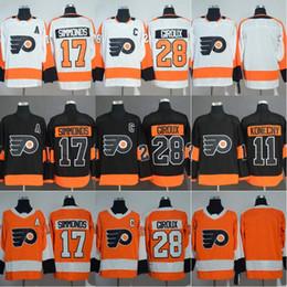 нхл канадиенс Скидка Philadelphia Flyers 11 Travis Konecny 17 Wayne Simmonds 28 Claude Giroux Хоккейные Майки На Складе Черный Оранжевый Белый
