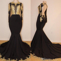 hot sexy see through dresses Coupons - 2019 Hot Sale African Black Mermaid Prom Dresses Jewel Neck Gold Lace Appliques See Through Open Back Long Sleeves Evening Gowns