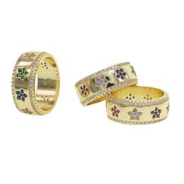 Bande di impegno incise online-CZ stella incisa larga banda di fidanzamento anello di moda donna 2019 regalo di Natale gioielli dito