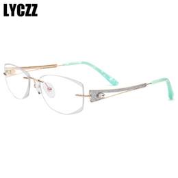 0b759614bc 2019 gafas de titanio LYCZZ Marca de moda miopía óptica Anteojos Recortado  sin montura Gafas Marcos