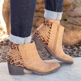 Leopard wildleder stiefel online-Oeak Ankle Boots für Frauen Chunky Stiefel High Heel Herbst-Winter-Spitzschuh Booties Frau Fashion Zipper Suede 2019