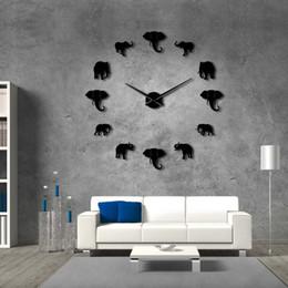 Grandes espejos modernos online-37 pulgadas Selva Animales Elefante DIY Reloj de Pared Grande Decoración para el hogar Diseño Moderno Efecto Espejo Gigante Sin Marco Elefantes Reloj Reloj DIY